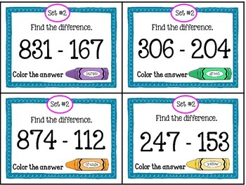 Subtraction Task Cards With a Twist
