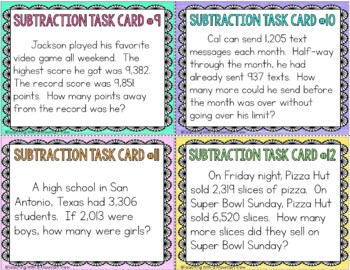 Subtraction Task Cards { Word Problems 1,000 - 1,000,000 }