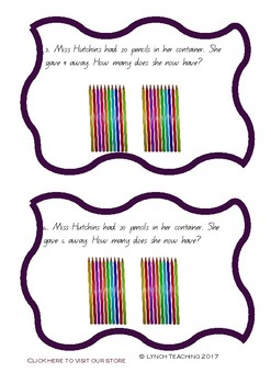 Subtraction Task Cards - Word Problems