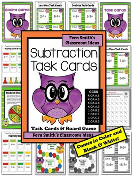 Subtraction Task Cards, Recording Sheet Board Game Five Subtraction Strategies