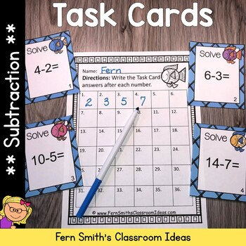 Subtraction Task Cards and Recording Sheet Ocean Themed