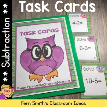 Subtraction Task Cards and Recording Sheet Owl Theme Five Subtraction Strategies
