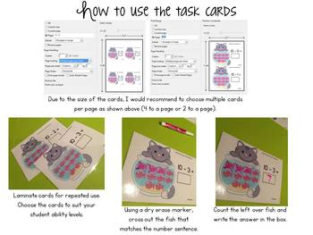 Subtraction Task Cards for Little Learners