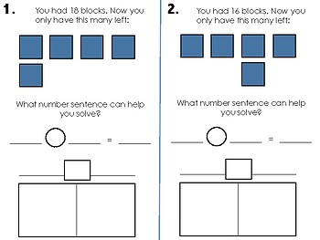 Subtraction Task Cards with Blocks