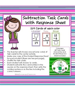 Subtraction Task Cards with Response Sheet
