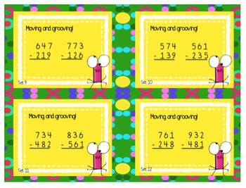 Subtraction Sums Task Cards ~ with and without trading / regrouping