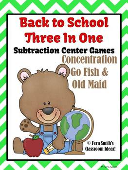 Subtraction Math Center Teddy Bear Back To School Three Center Games in One