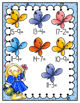 Subtraction Teens Facts: Garden Friends File Folder Game