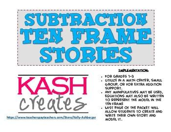 Subtraction Ten Frame Stories