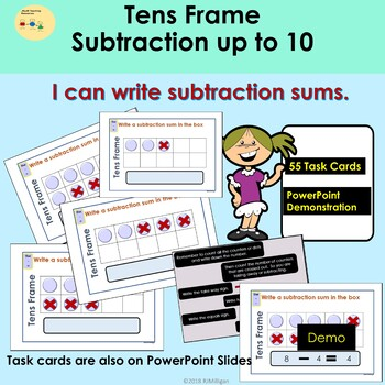 Subtraction - Tens Frame PowerPoint Presentation Demo, Task Cards Teacher Notes