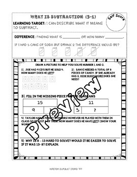 Subtraction:Terms and Strategies (EnVision Topic 3&4) Interactive Notebook