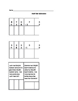 Subtraction Test