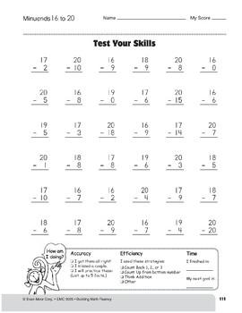 Subtraction Tests, Grade 3