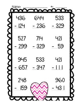 Subtraction - Three Digit with Regrouping