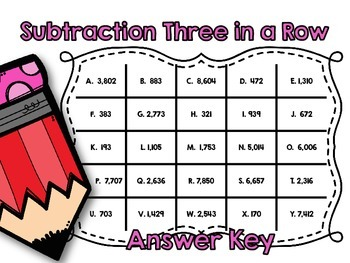 Subtraction Three in a Row