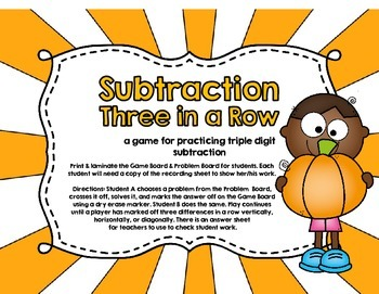 Subtraction Three in a Row-Three Digits