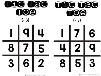 Subtraction Tic Tac Toe