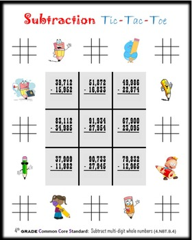 Subtraction Tic-Tac-Toe:  Fourth grade