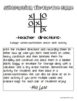 Subtraction Tic-Tac-Toe Game