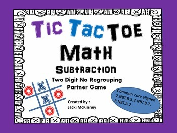 Subtraction Tic Tac Toe Game No Regrouping