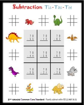 Subtraction Tic-Tac-Toe:  Second grade