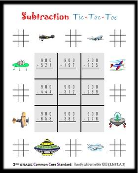Subtraction Tic-Tac-Toe:  Third grade