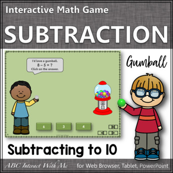 Subtraction Time within 10 Interactive Math Game {gumball}