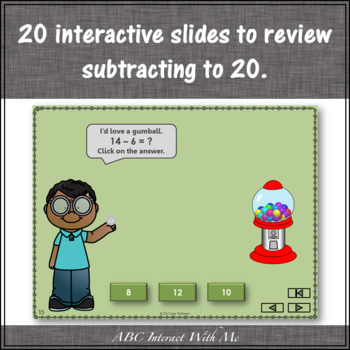 Subtraction Time within 20 Interactive Math Game {gumball}