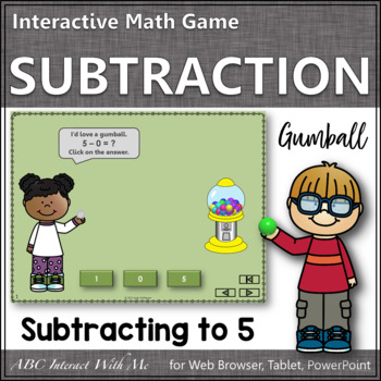Subtraction Time within 5 Interactive Math Game {gumball}