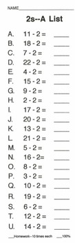 Subtraction Timed Mini-Tests