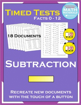 Subtraction Timed Tests (Facts 0 - 12) - Automatic Generator