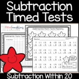Subtraction Timed Tests 0-20   Math Fact Fluency Within 20