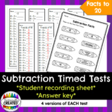 Subtraction Timed Tests {-0 to -5, Doubles, Friends of 10}