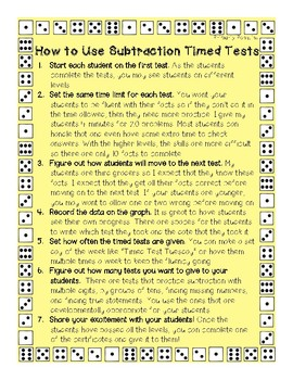 Subtraction Timed Tests- First Grade Edition