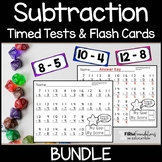 Subtraction Timed Tests & Flash Cards Bundle {0-20}