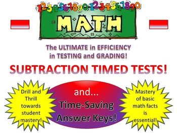 Subtraction Timed Tests and Time-Saving Answer Keys