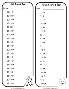 Subtraction Timed Tests with Differences up to 10