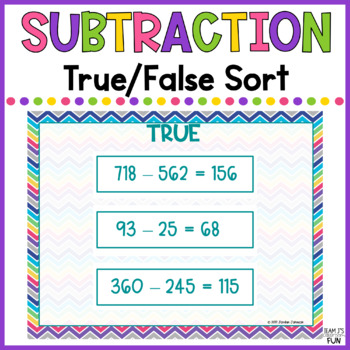 Subtraction - True/False Sort with 2 and 3-digit Numbers