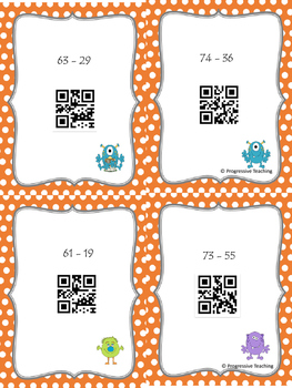 Subtraction Two Digits Task Cards with QR Codes