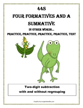 Subtraction - Two digit with and without regrouping - dino theme