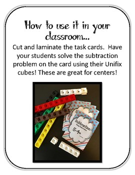 16 Subtraction Linking Cubes Task Cards. Subtracting. Counting. Interlocking.