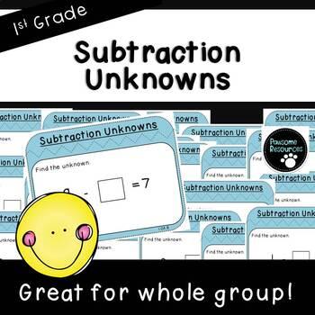 Subtraction Unknowns-Teacher Slides (First Grade, 1.OA.8)