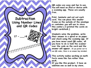 Subtraction Using Number Lines and QR Codes