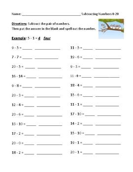 Subtraction using numbers zero to twenty 0 20 worksheet or homework ibookread ePUb