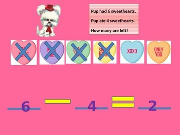 Subtraction Valentine Hearts with Student Worksheet