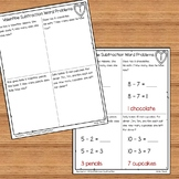 Subtraction Valentine Word Problems Numbers 1-10 for Kindergarten and 1st Grade