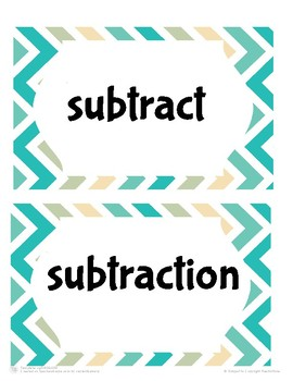 Subtraction Vocabulary Cards
