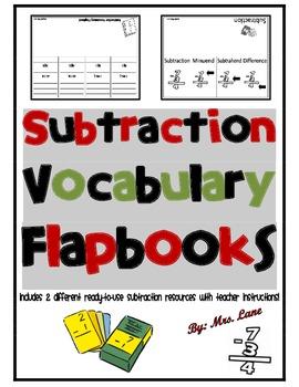 Subtraction Vocabulary Flapbooks