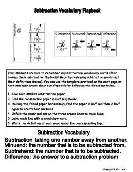 Subtraction Vocabulary Flapbooks