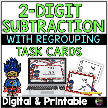 2 Digit Subtraction WITH regrouping (Superhero theme) Task Cards